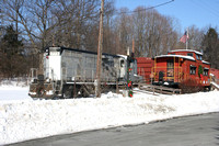 Winter scene at The Hamptonburgh caboose