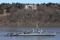USS Slater passes Vanderbilt Mansion