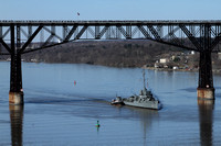 USS Slater under the New Haven Bridge